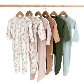 Burrow & Be Essentials Sleep Suit - White Size NB