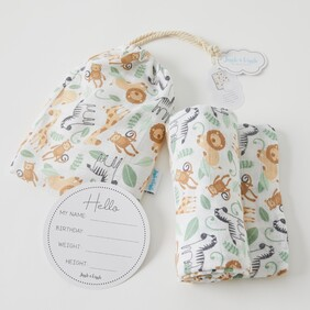 Muslin Wrap with Arrival Card - Safari